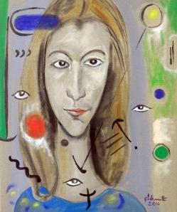Jeanne avec 5 yeux, huile sur toile de lin, 50 x 61 cm
