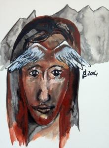 Sans titre, encre de Chine et gouache sur papier aquarelle, 30 x 40 cm