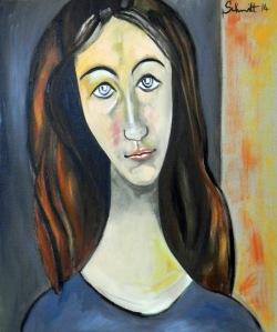 Jeanne aux cheveux rouges, huile sur toile de lin, 54 x 65 cm