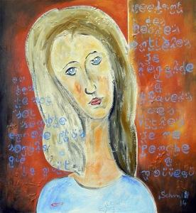 Jeanne avec des écritures bleues, huile sur toile de lin, 60 x 65 cm