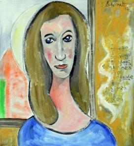 Jeanne à la fenêtre, huile sur toile de lin, 60 x 65 cm