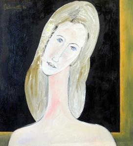 Jeanne au fond noir, huile sur toile de lin, 60 x 65 cm