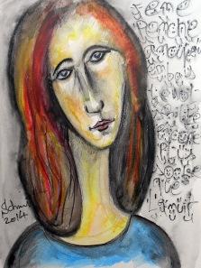 Portrait de Jeanne jaune, encre de Chine et crayon aquarelle sur papier, 30 x 40 cm