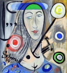 Jeanne et Miro, huile sur toile de lin, 60 x 65 cm