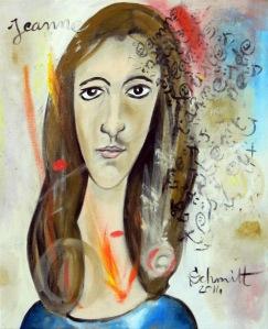 Jeanne signé Jeanne, huile sur toile de lin, 50 x 61 cm