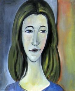 Jeanne à l'étrange sourire, huile sur toile de lin, 54 x 65 cm