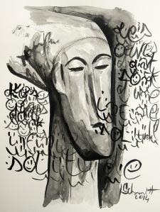 Sans titre, encre de Chine sur papier aquarelle, 30 x 40 cm